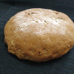 Pan de Hogaza Ecológico de <b>ESPELTA BLANCA</b> con Nueces y Pasas de Fermentación Mixta. Cortado 3